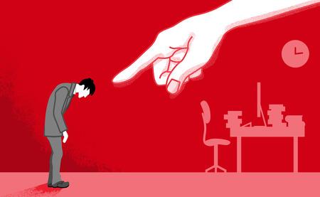 Hombre de negocios que es señalado por la mano enorme: arte conceptual de acoso de poder