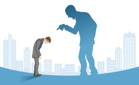 Homme d'affaires blâmé par le patron - art conceptuel de harcèlement de puissance