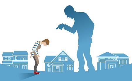 Huisvrouw die de schuld krijgt van echtgenoot - Concept art huiselijk geweld