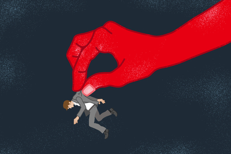 Businessman who is pinched by the huge hand - Power Harassment concept art Illustration