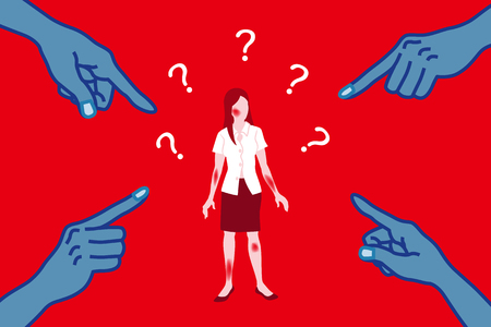 Víctima de abuso sexual que está siendo reprendida por un misógino - Arte conceptual de acoso sexual