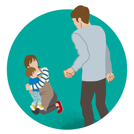 Mother and son who are threatened by Father - Domestic violence concept art Illustration