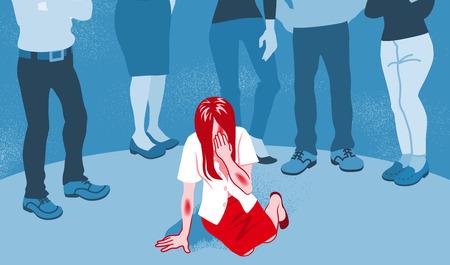 Weinendes Missbrauchsopfer, das von den Menschen zurechtgewiesen wird - Konzeptkunst für sexuelle Belästigung