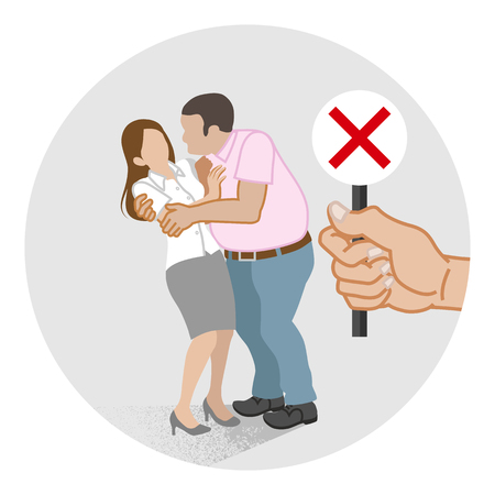 Woman who is being embraced by the man forcibly - Sexual harassment concept art Stock Illustratie