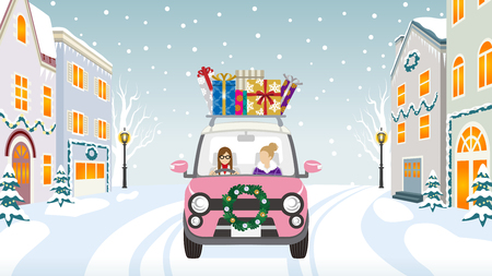 Two women riding the pink Car which loaded a lot of Christmas gifts in the winter town