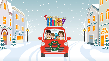 Family riding the red Car which loaded a lot of Christmas gifts in the winter town - Cartoon style