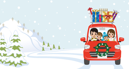 Family riding the red Car which loaded a lot of Christmas gifts in the winter nature - Cartoon style Ilustracja
