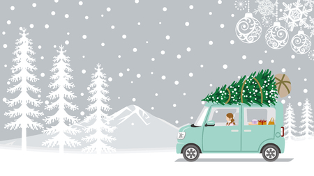Young woman riding the car which loaded the Christmas tree - Winter nature and ornament background
