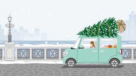 Young woman riding the car which loaded the Christmas tree - Winter stone paving road background