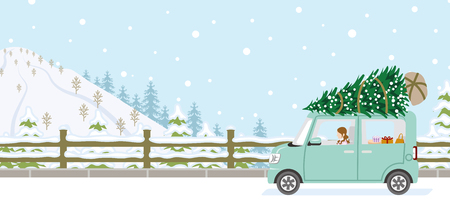 Young woman riding the car which loaded the Christmas tree - Winter nature road background Illustration