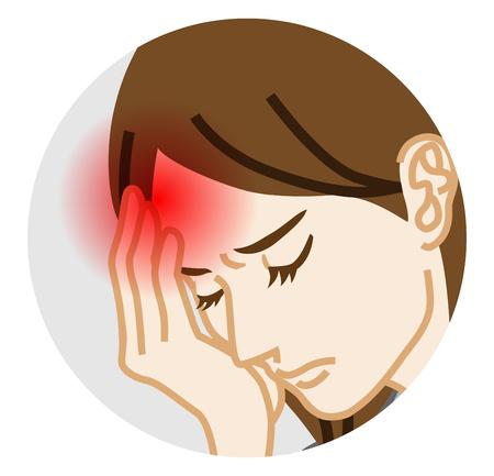 Kopfschmerzen - Körperliche Krankheit Rundschreiben ClipArt, Erwachsene Frau