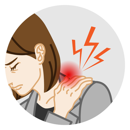Stiff shoulder - Physical disease Circular clip art, Adults woman