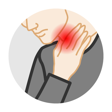 Dolor de garganta - enfermedad física clip art circular, hombre adulto