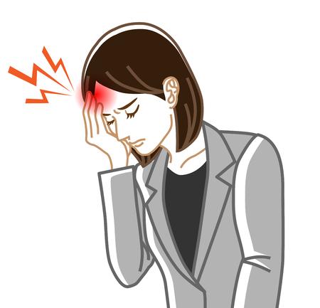 Kopfschmerzen - Körperliche Krankheit Bild ClipArt - Geschäftsfrau, Strichzeichnungen