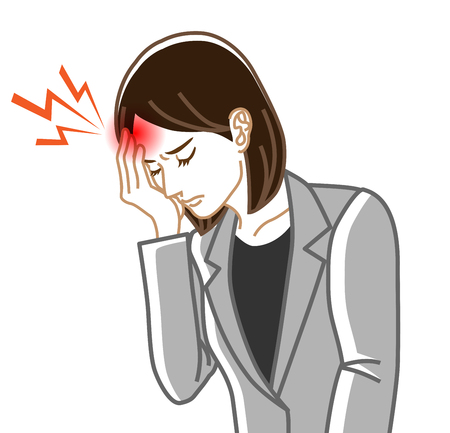 Headache - Physical disease image clip art - Business woman ,Line art Illustration