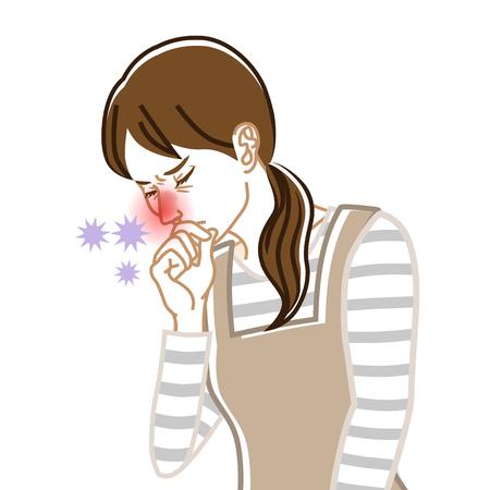 Rhinite - Image clipart maladie physique - Femme au foyer, Dessin au trait Vecteurs