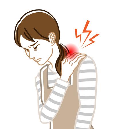 Stiff Shoulder - Physical disease image clip art - Housewife , Line art