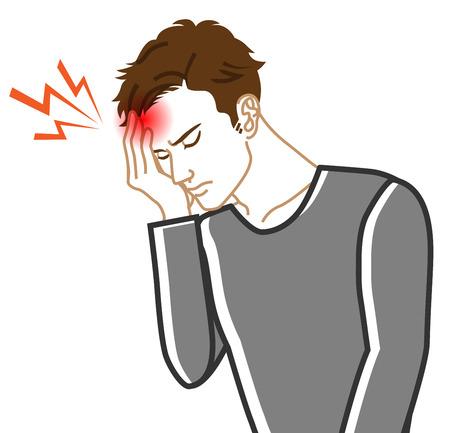 Maux de tête - Image clipart maladie physique - Hommes adultes, Dessin au trait