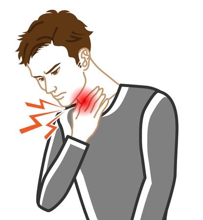 Dolor de garganta - Enfermedad física imagen prediseñada - Adultos hombres, arte lineal Ilustración de vector