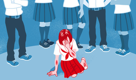Bully-Konzeptkunst - japanische Studentin Vektorgrafik