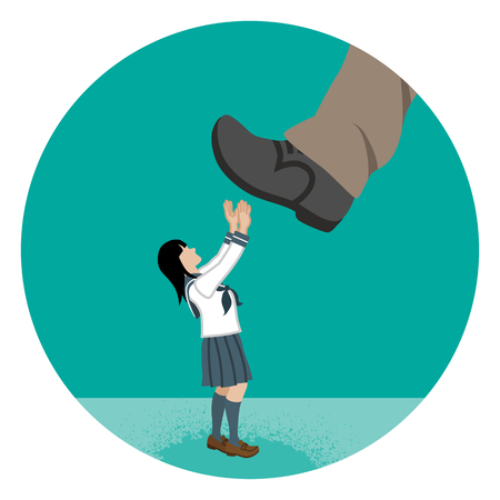 Japanese schoolgirl who is nearly trampled by the huge foot-Child abuse concept art Illustration