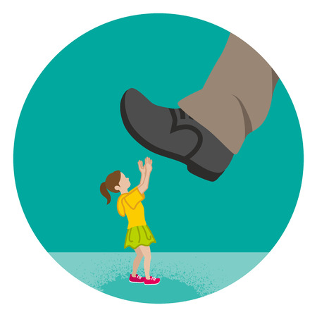 Elementary aged girl who is nearly trampled by the huge foot - Child abuse concept art Ilustração