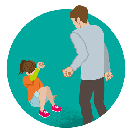 Elementary aged girl who is threatened by the adult man - Child abuse concept art