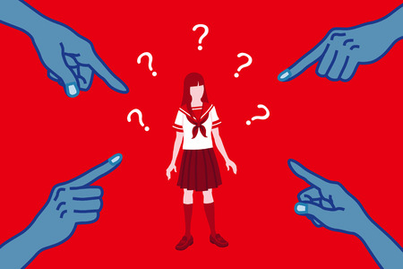 Blamed Japanese female student - sexism concept art