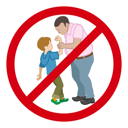 Little boy who is grabbed his arm by the adult man - Child Abuse concept art, Ban sign Ilustracja