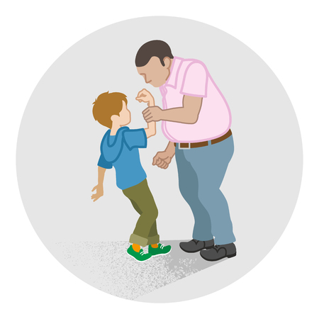 Little boy who is grabbed his arm by the adult man - Child Abuse concept art Illustration