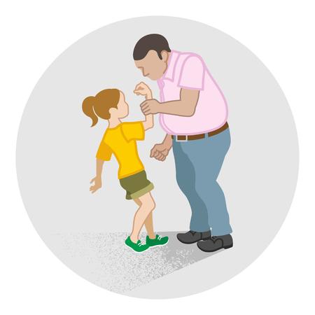 Niña que es agarrada por el brazo por el hombre adulto - Arte conceptual de abuso infantil