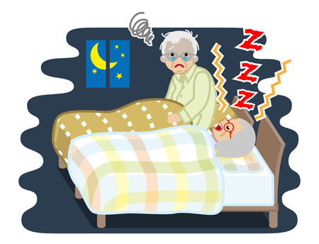 Senior man suffering snore noise by his wife - sleep problem 矢量图像