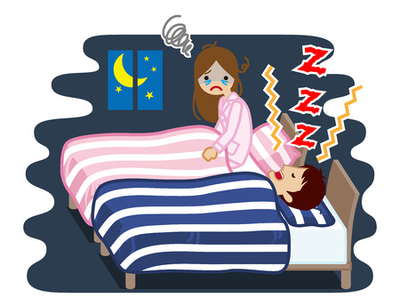 Yound woman suffering snore noise by her husband - sleep problem