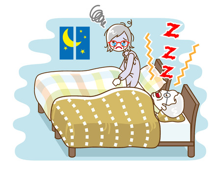 Senior woman suffering snore noise by her husband - sleep problem, contour style 矢量图像