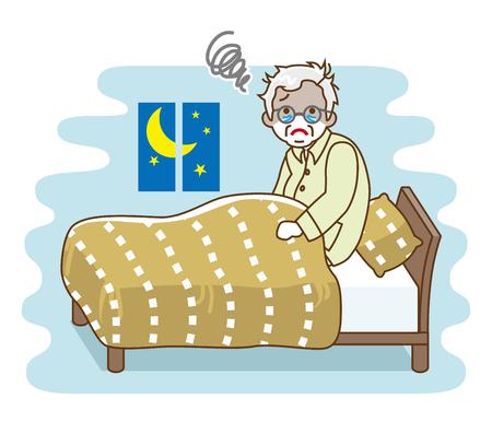 Senior man suffering insomnia - sleep problem, contour style