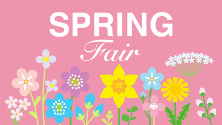 """Lined up Colorful Wildflowers, including words """"SPRING Fair"""" - pink color background"""