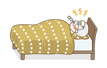 Senior man rest in bed who suffers fever of disease - Full length, line art