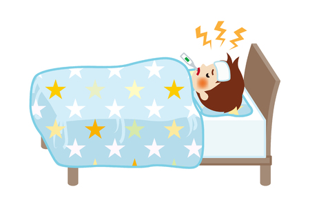 Petit garçon reste au lit qui souffre de fièvre de maladie - Pleine longueur