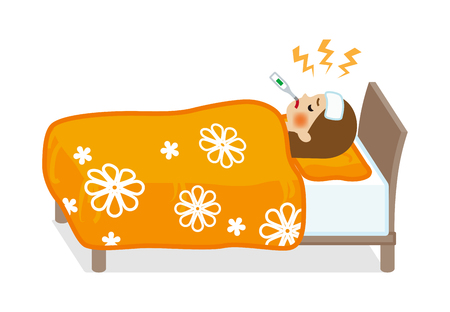 Woman rest in bed who suffers fever of disease - Full length Illusztráció
