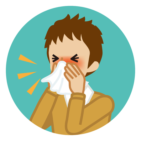 Male student blowing nose with a tissue - Circular icon