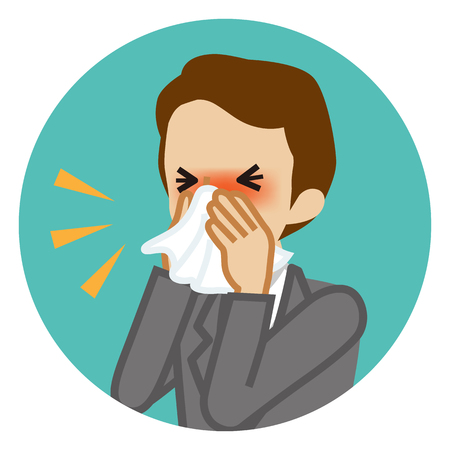 Businessman blowing nose with a tissue - Circular icon Illustration