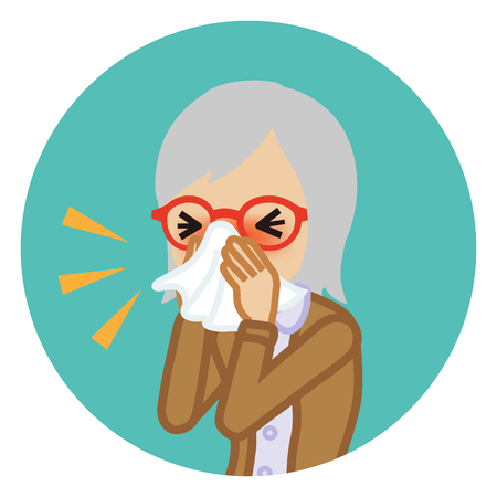 Senior woman blowing nose with a tissue - Circular icon Vector Illustration
