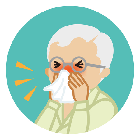 Senior man blowing nose with a tissue - Circular icon Illustration