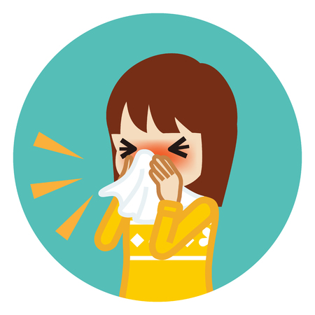 Toddler girl blowing nose with a tissue - Circular icon