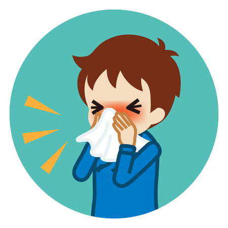 Toddler boy blowing nose with a tissue - Circular icon