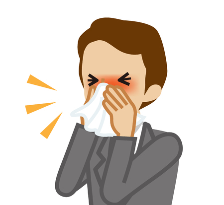 Businessman blowing nose with a tissue Stock Illustratie