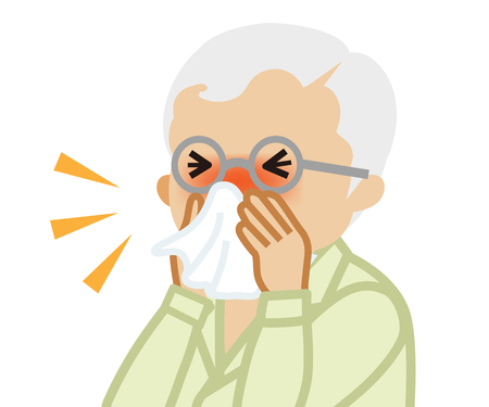 Senior man blowing nose with a tissue Vector Illustration