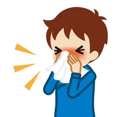 Niño niño soplando la nariz con un pañuelo