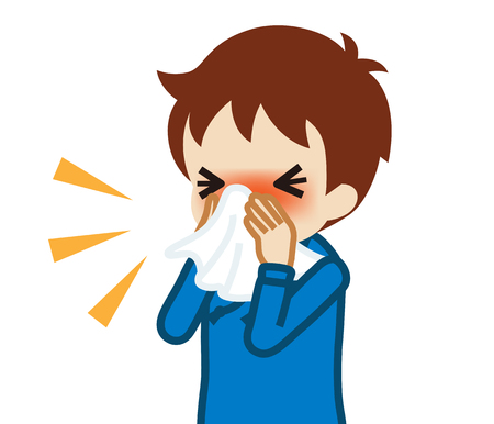 Toddler boy blowing nose with a tissue Çizim