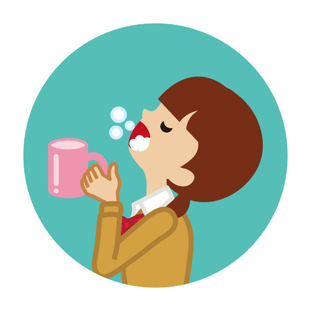 Female student gargling with water for prevent cold - Circular icon